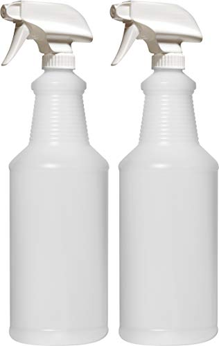 (Bar5F Empty Plastic Spray Bottles 32 oz. for Cleaning and Chemical Solution, Leak Proof with Adjustable Head Sprayer from Fine to Stream (Pack of 2))