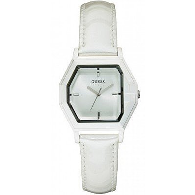 W85122l2 Guess Ladies White Leather Watch
