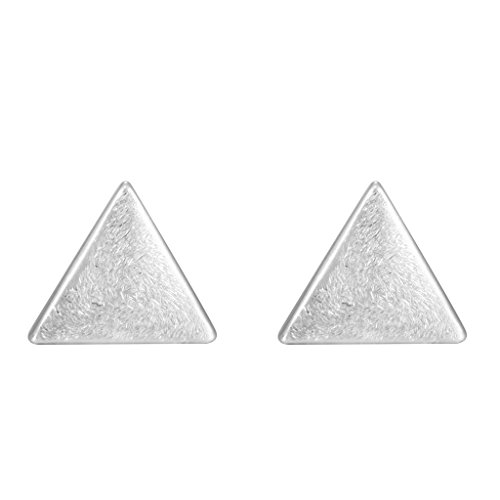 Minimalist 925 Sterling Silver Small Lovely White Triangle Post Stud Earrings