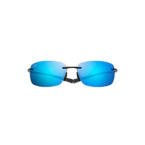 Maui Jim Kumu B724-02 | Polarized Gloss Black Rimless Frame Sunglasses, Blue Lense, with with Patented PolarizedPlus2 Lens Technology