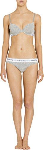 Calvin Klein Women's Modern Cotton Thong Panty, Grey Heather, X-Large
