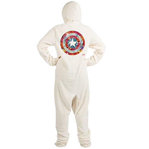 (CafePress Captain America Tie Dye Shield Novelty Footed Pajamas, Funny Adult One-Piece PJ Sleepwear)