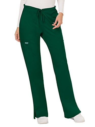 WW Revolution by Cherokee Women's Mid Rise Moderate Flare Drawstring Pant Petite, Hunter Green, X-Small - Hunter Uniform