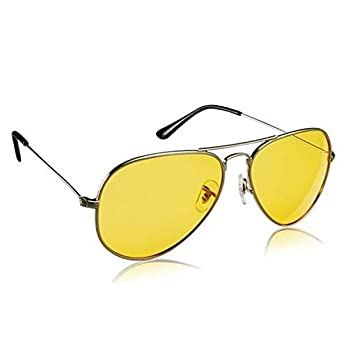 Dervin Night Vision Silver Frame Men Women Aviator Sunglasses for Driving/Shooting (Yellow Lens) – Perfect for Any Weather
