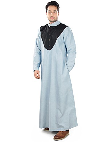 MyBatua Men's Wear Cotton Galabiyya Arabic Muslim Clothing Kurta Online in Blue (X-Small) by MyBatua