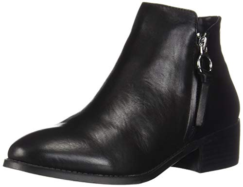 Steve Madden Women's Dacey Ankle Boot, Black Leather, 7.5 M