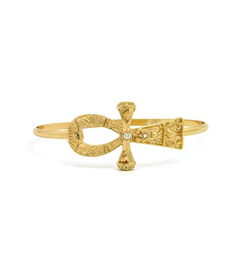 Ma'at Costume (Women's Egyptian Ankh Cross Piece Open Cuff Wire Bangle Bracelet in Gold Tone (Many Kinds Available) (Studded Ankh Cross))