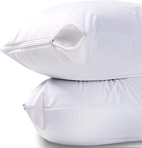 Waterproof Zippered Pillow Encasement Bed Bug Proof Pillow Cover Protects Against Dust Mite, Bacteria, Allergens - Polyester Jersey Fabric Pillow Protector by Utopia Bedding (White, King)