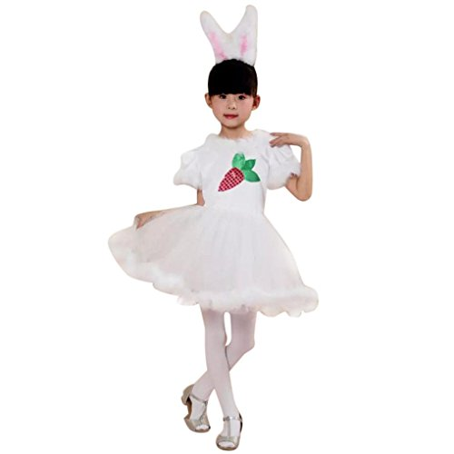 Foutou's Kids Baby Girls Christmas Outfit Clothes Costume Party Fashion Show Princess Dresses (White, 4-5T) -