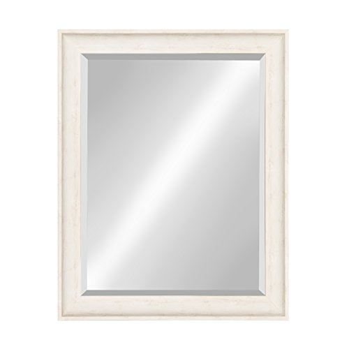 (Kate and Laurel McKinley Framed Wall Vanity Beveled Mirror, 26.5x32.5, Distressed White)