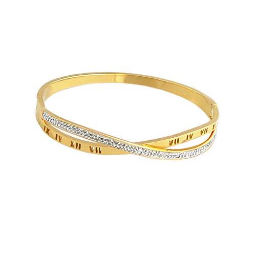 Baoliren Titanium Steel Rose Gold Tone Roman Numerals Cross Rhinestone Bracelet for Lady (Yellow Gold Color)