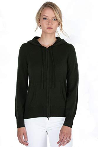 JENNIE LIU Women's 100% Pure Cashmere Long Sleeve Zip Hoodie Cardigan Sweater (S, Pine)