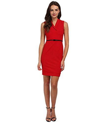Shawl Collar Sheath (Calvin Klein Shawl Collar Sheath Dress with Belt - Red - 10)