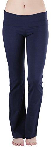 Navy Blue Pants (ToBeInStyle Women's Flared Bottom Full Length Leggings - True Navy - Large)
