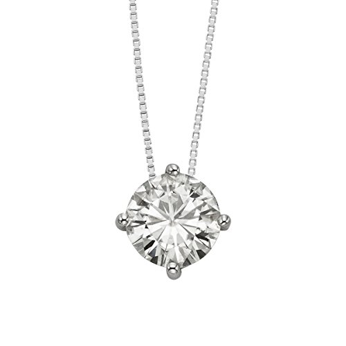 14K White Gold Round Brilliant Cut 9.5mm Moissanite Pendant Necklace, 3.10ct DEW by Charles & Colvard