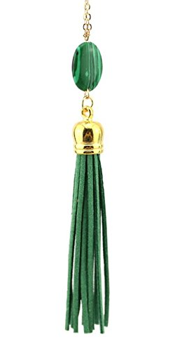 stylesilove Womens Girls Natural Stone Velvet Tassels Gold Statement Necklace (Casual Green Necklace)