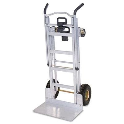 - COSCO 12312ABL1D 3-in-1 Aluminum Hand Truck/Assisted Hand Truck/Cart with Flat Free Wheels; Lightweight, commercial-grade aluminum frame features a silver finish; Dimensions 21