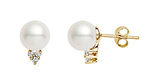 14k Yellow Gold AAA Quality White Freshwater Cultured Pearl Diamond Stud Earrings (9-9.5mm)