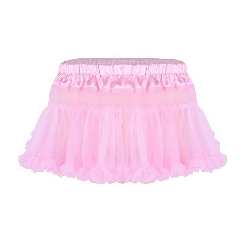inhzoy Adult Men's Sissy Crossdress Sheer Mesh Mini Skirts Frilly Ruffled See Through Tulle Tutu Dress Pink OneSize