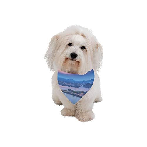 (AIKENING Pet Dog Cat Bandana Korea Jeju Island City Free Travel Romantic Fashion Printing Bibs Triangle Head Scarfs Kerchief Accessories for Large Dog Pet Birthday Party Easter)