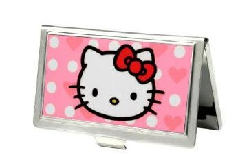 ID Holder Hello Kitty Pink Heart and Dots Metal Business Card