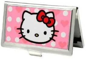 Hello Kitty Pink Heart and Dots Metal Business Card / ID Holder