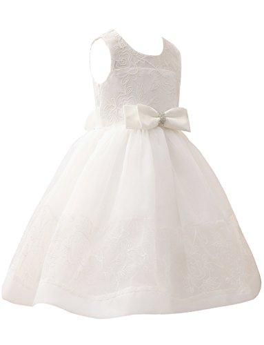 Hochzeit Bowknot für Rundhals Blumenmädchenkleider Erosebridal Spitze SxAwOqn7a0