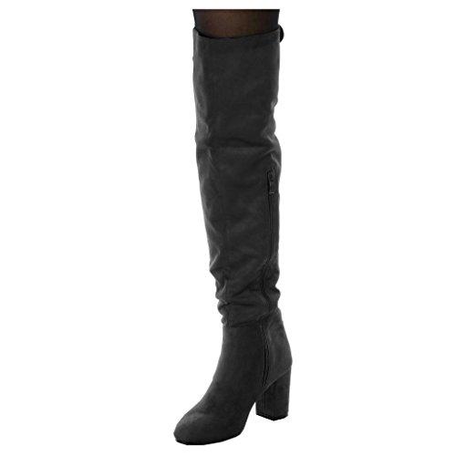 Angkorly Damen Schuhe Oberschenkel-Boot - Reitstiefel Kavalier - Flexible - Biker Blockabsatz High Heel 8 cm Grau