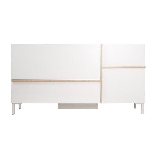 Phönix 226202WEE Beijing Sideboard mit Tür und Schublade, weiß   eiche-sägerau