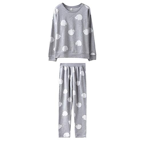 Casa Gray Vestidos Manga Para Ropa Pijamas Larga Camisones Algodón Pieza Hogar Femeninos Paños De Mujeres Conjuntos En Una El UwZqOqf