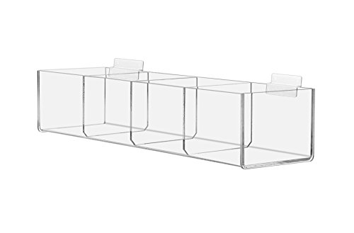 Marketing Holders Slat-wall Compartment Bin Clear Organization Storage Display 4 Bin Compartment Qty 6