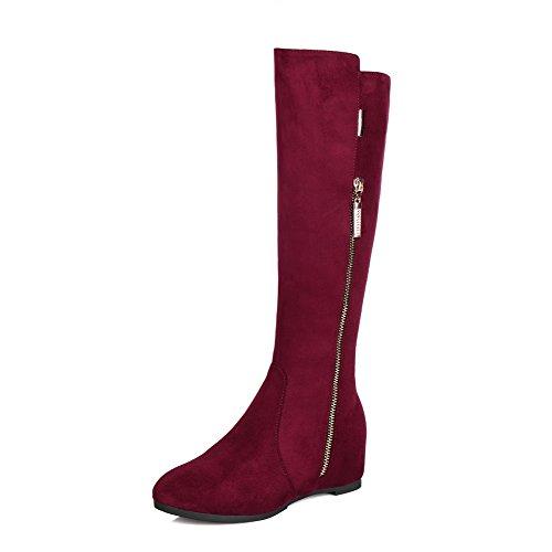 Allhqfashion Women's Kitten Heels Solid Round Closed Toe Zipper Boots Claret JUwnF