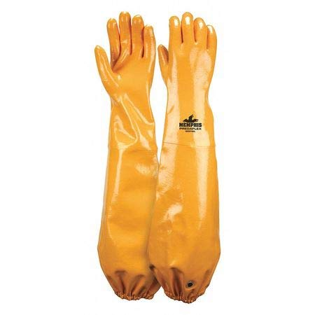 Chemical Resistant Gloves, Nitrile, XL, 25''L, Cotton by MCR SAFETY (Image #1)