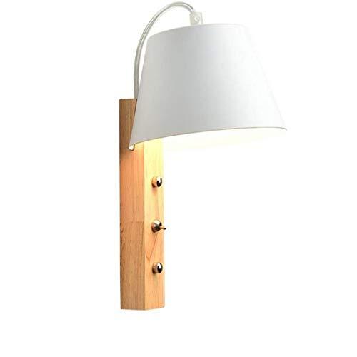 Lampadaire de chevet Lampe de chambre à coucher en bois massif Allée murale Appliques E27 Appliques murales de sécurité (Couleur  Blanc)