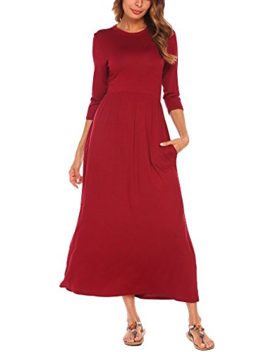 Halife Women's Smock Neck 3/4 Sleeve Fit and Flare Long Midi Dress with Pockets (M, Burgundy)