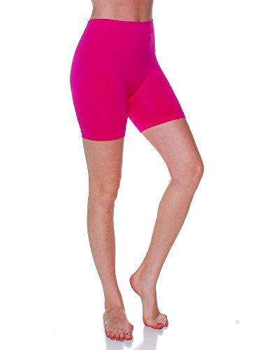 Fuschia Womens Skirt - Emmalise Women's 12 in Stretchy Layering Short Seamless Legging Bottom - Fuschia, One Size