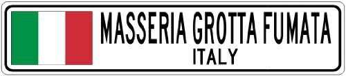 SSERIA GROTTA FUMATA, ITALY - Italy Flag City Sign - 3x18 Inches Aluminum Metal Sign ()