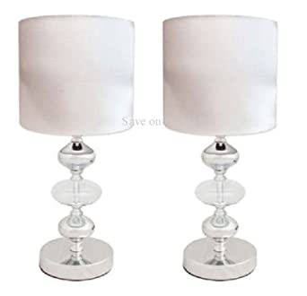 Pair cream white metal glass fabric side table lamps for Bedside table lamp shades