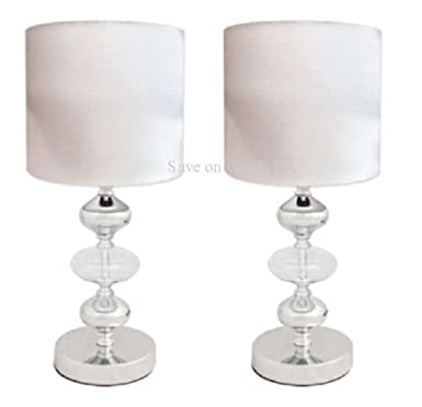 Pair cream white metal glass fabric side table lamps light pair cream white metal glass fabric side table lamps light shades bedside lamps amazon lighting aloadofball Image collections