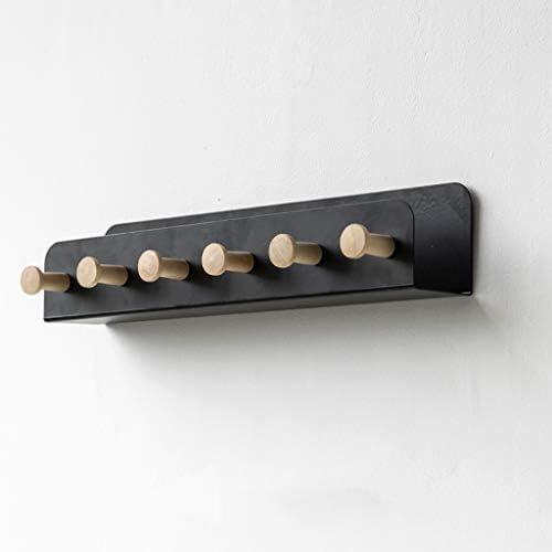 壁掛け棚ポーチ多機能壁掛け洋服収納ディスプレイスタンドソリッドメタル4/6フック黒、白 SYFO (Color : White, Size : 33×5×7cm)