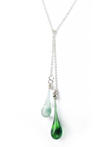 Green Glass Double Droplet Lariat Necklace, Recycled from Coke and Ginger Ale Bottles (Coca Cola Necklace)