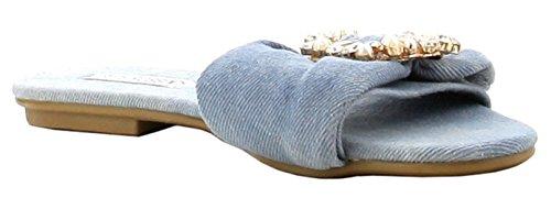 Cape Robbin Sadie-3 Satin Strass Brosch Öppen Tå Glida Halka På Flip Flop Flat Sandal Svart Denim