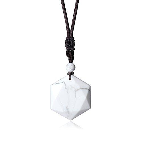 COAI Star of Star Howlite Religious Prayer Stone Pendant Necklace for Men Women