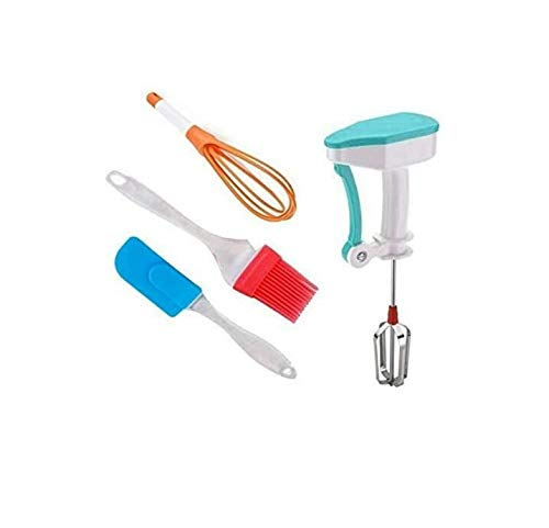 Harshvi Kitchen Tools -Silicone Oil Brush and Spatula, Plastic Whisk Beater and Manual Power Free Hand Blender , Combo…