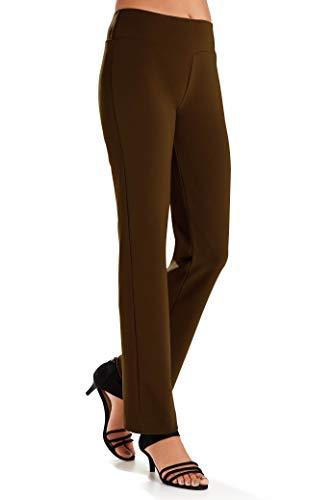 Knit Works - Boston Proper Women's Wrinkle-Resistant Straight-Leg Knit Solid Color Pant Safari Brown Large Regular