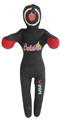 Celebrita Italy MMA Judo Grappling Dummy w open hands and 3 straps on head and shoulder unfilled MMA377 Canvas - Black 70