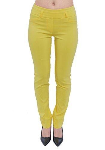PattyCandy Womens Yellow Comfort Fit Straight Leg Smart Business Pants, Yellow - XL by PattyCandy