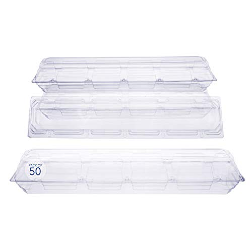 - 50 Pack Clear Plastic Flower Box for Corsage, Boutonniere, Rose, Orchid Prom Wedding Craft Container 25x5x4