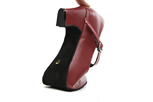 Minishion Gl245 Dames Mary Jane Style Leer Lage Hak Latin Social Prom Danspumps Bordeaux-5cm Hak