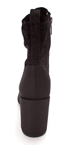 Stivali Da Donna Alla Moda Con Cinturino Alla Caviglia In Stoffa Color Vinaccia / Tessuto